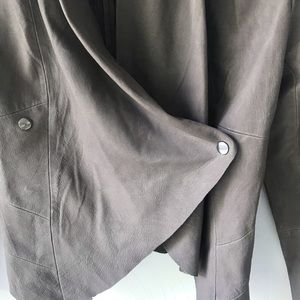 BB Dakota Jackets & Coats - BB Dakota Draped Real Leather Jacket Taupe Small
